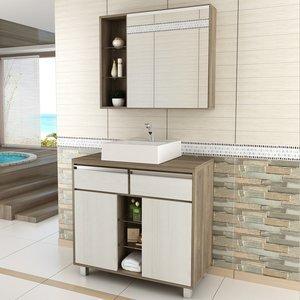 Gabinete para Banheiro com Espelheira Balcony Malbec 80 (Não acompanha torneira) Artico/Merlot
