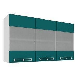 Armário Aéreo com 3 Portas de Vidro 1,20m Art in Móveis Mia Coccina Branco/Verde