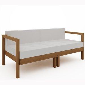 Sofá Lazy 2 lugares (com almofada) 01-237 Mão e Formão Jatobá