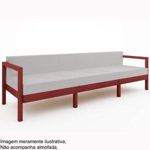Sofá Lazy 3 lugares (sem almofada)Mão e Formão Vermelho