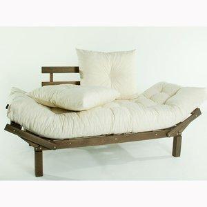 Sofá Cama Country Comfort (com almofada) Cru 1854-2 Mão e Formão Nogueira