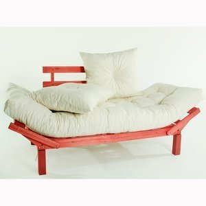 Sofá Cama Country Comfort (com almofada) Cru 1854-2 Mão e Formão Vermelho