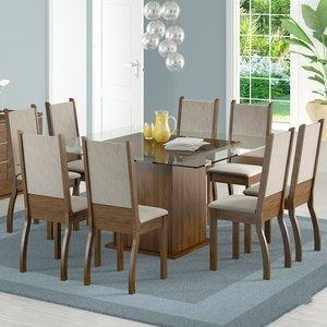 Sala de Jantar Mesa e 8 Cadeiras Madesa Vívian Rustic/Suede Pérola