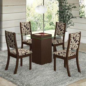 Conjunto para Sala de Jantar Mesa e 4 Cadeiras Viero Via Choco/Medina