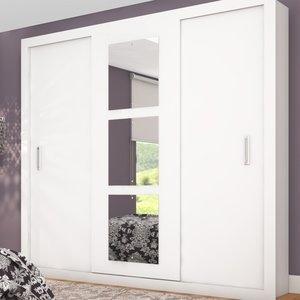 Guarda Roupa Casal com Espelho 3 Portas de Correr Mônaco Siena Móveis Branco