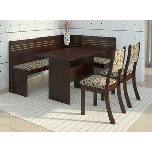 Conjunto Canto Alemão Mesa com 2 Cadeiras Scan Siena Móveis Choco/Trigo