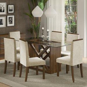 Conjunto Sala de Jantar Mesa e 6 Cadeiras Jamy Madesa Rustic/Imperial Freja