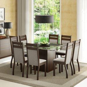 Conjunto Sala de Jantar Mesa e 8 Cadeiras Louise Madesa Tabaco/Pérola