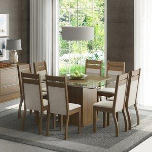 Conjunto Sala de Jantar Mesa e 8 Cadeiras Louise Madesa Rustic/Pérola