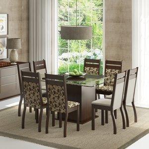 Conjunto Sala de Jantar Mesa e 8 Cadeiras Louise Madesa Tabaco/Bege/Pérola