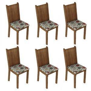Conjunto 6 Cadeiras Lucy Madesa Rustic/ Floral Hibiscos