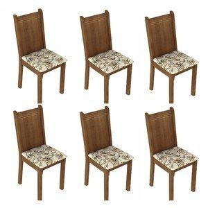 Conjunto 6 Cadeiras Lucy Madesa Rustic / Lírio Bege