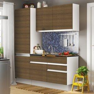 Cozinha Compacta Glamy Madesa (Não acompanha Tampo de Pia) Branco/Rustic