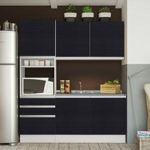 Cozinha Compacta Glamy Madesa (Não acompanha Tampo de Pia) Branco/Ébano