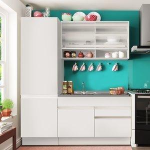 Cozinha Compacta Glamy Madesa (Não acompanha Tampo de Pia) Branco