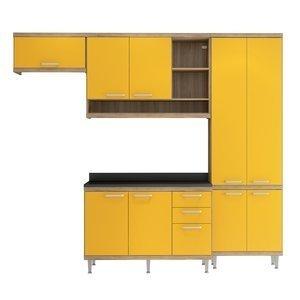 Cozinha Compacta 5143 Sicília Multimóveis (Não Acompanha Tampo) Argila/Amarelo Gema
