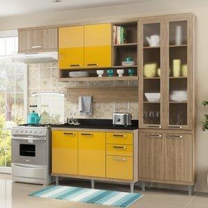 Cozinha Compacta 5146 Sicília Multimóveis (Não Acompanha Tampo) Argila/Amarelo Gema