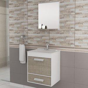 Gabinete para Banheiro com Espelheira Balcony UP (Não acompanha torneira e acessórios) Branco/Linho