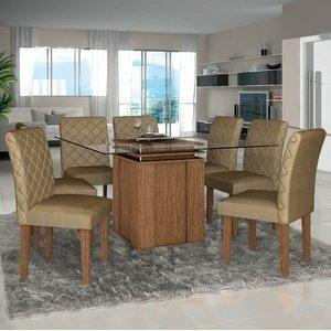 Conjunto Sala de Jantar Mesa Lankaster e 8 Cadeiras Orion Lj Móveis Castanho/Bege
