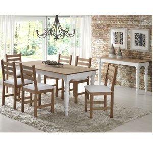 Conjunto para Sala de Jantar Mesa 6 Cadeiras e Aparador Woody Siena Móveis Jatobá/Branco