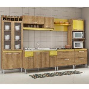 Cozinha Completa sem Tampo Tropical 16 Portas Fellicci Carvalho/Amarelo