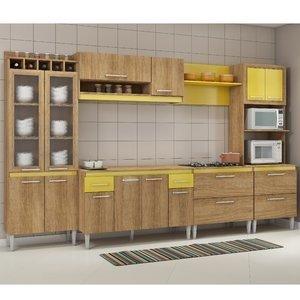 Cozinha Completa com Tampo Tropical 16 Portas Fellicci Carvalho/Amarelo