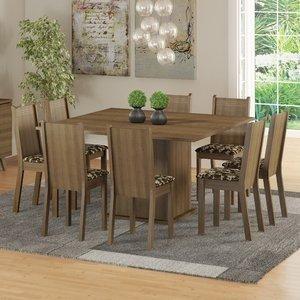 Conjunto Sala de Jantar Mesa e 8 Cadeiras Madesa Clarice Rustic/Cacau