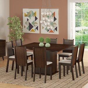 Conjunto Sala de Jantar Mesa e 8 Cadeiras Madesa Clarice Tabaco/Pérola