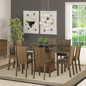 Conjunto Sala de Jantar Mesa e 8 Cadeiras Camila Madesa Rustic/Cacau