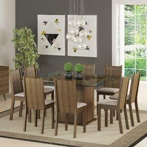 Conjunto Sala de Jantar Mesa e 8 Cadeiras Camila Madesa Rustic/Pérola