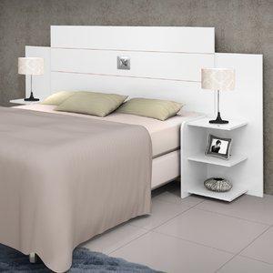 Cabeceira Casal Regulável com Prateleiras Acapulco J&A Móveis Branco