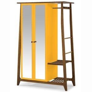 Guarda Roupa Solteiro com Espelho 2 Portas com Prateleira Stoka Maxima Nogal/Amarelo