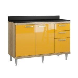 Balcão com Tampo 1,20m 5118 Sicília Multimóveis Argila/Amarelo Gema