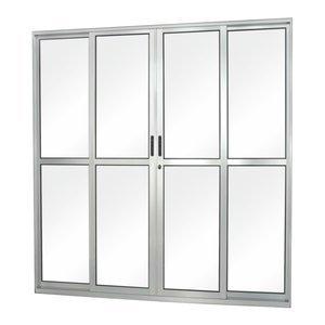 Porta de Correr Alumínio 4 Folhas com Vidro Liso Sólida MGM 210cmx200cm Natural