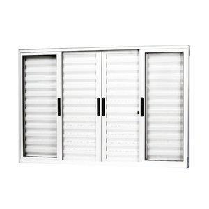 Janela Veneziana Alumínio 6 Folhas MGM Sólida 100cmx100cm Vidro Liso Incolor Branco