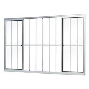 Janela de Correr Alumínio 4 Folhas com Grade MGM Soft 100cmx150cm Vidro Liso Incolor Branco
