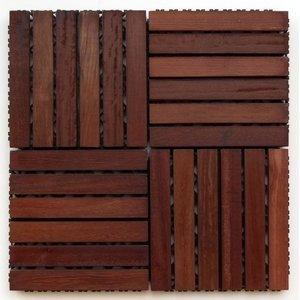 Deck de Madeira Modular Base Plástica Isabela Revestimentos 30cm x 30cm (Placa) Madeira de Lei Mista