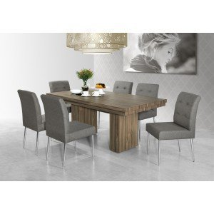 Conjunto Sala de Jantar Mesa Giulia 6 Cadeiras Flora Aço Nobre Nogal