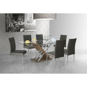Conjunto Sala de Jantar Mesa Mariana 6 Cadeiras Miriam Aço Nobre Nogal