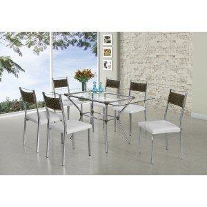 Conjunto Sala de Jantar Mesa Geovana 6 Cadeiras Ohana Aço Nobre Cromado