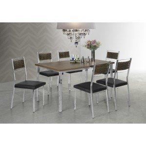 Conjunto Sala de Jantar Mesa Thais 6 Cadeiras Ohana Aço Nobre Cromado