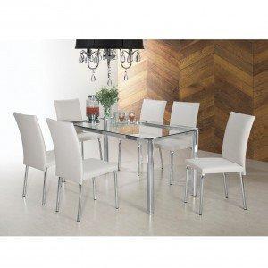 Conjunto Sala de Jantar Mesa Diana 6 Cadeiras Viana Siena Móveis Cromado/Marfim