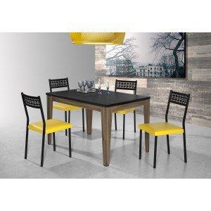 Conjunto Mesa Olinda com 4 Cadeiras Thais Aço Nobre Móveis Nogal/Amarelo