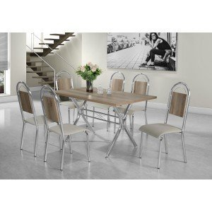 Conjunto de Mesa Londres com 6 Cadeiras Vanessa Aço Nobre Castani/Cromado