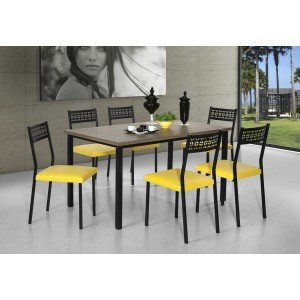 Conjunto de Mesa com 6 Cadeiras Thais Aço Nobre Nogal/Preto