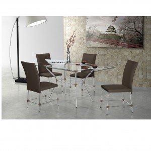 Conjunto Sala de Jantar Mesa Geovana 4 Cadeiras Luana Siena Móveis Alumínio/Chocolate