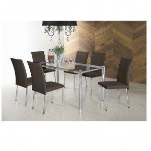 Conjunto Sala de Jantar Mesa Diana 6 Cadeiras Viana Siena Móveis Cromado/Chocolate