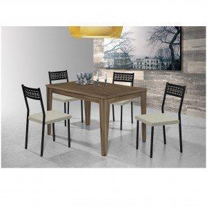 Conjunto Mesa Olinda com 4 Cadeiras Thais Aço Nobre Móveis Nogal/Bege