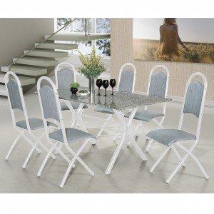Conjunto de Mesa Londres com 6 Cadeiras Holanda Aço Nobre Móveis Azul/Branco