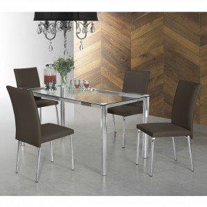 Conjunto Sala de Jantar Mesa Daiane 4 Cadeiras Viana Aço Nobre Móveis Marrom